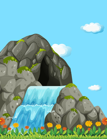 cascade mountains: Scene with waterfall and field illustration Illustration