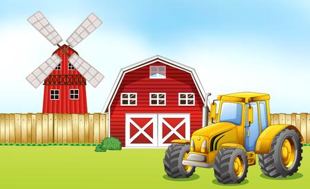 farmyard: Tractor in the farmyard illustration Illustration