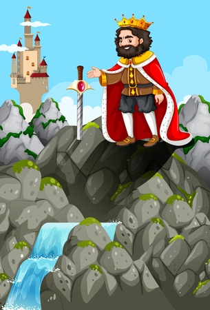 waterfall: King and sword in the stone illustration
