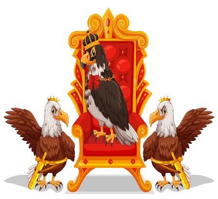 throne: Three eagles sitting in the throne illustration