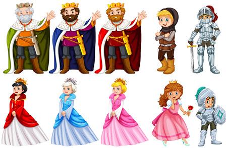 prin: Diferentes personajes cuentos de hadas en el fondo blanco ilustración Vectores