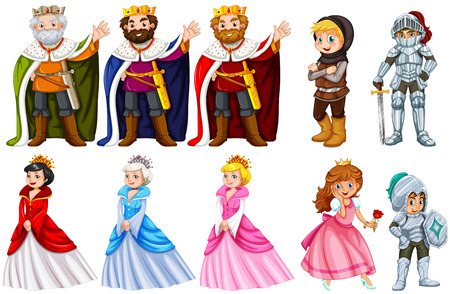 Different fairytales characters on white background illustration 向量圖像