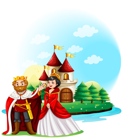 king and queen: King and queen at the castle illustration