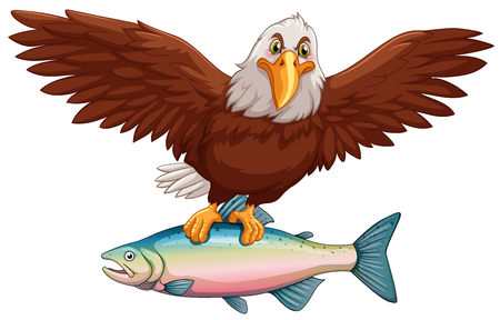 eagle flying: Eagle flying with fish in claws illustration Illustration