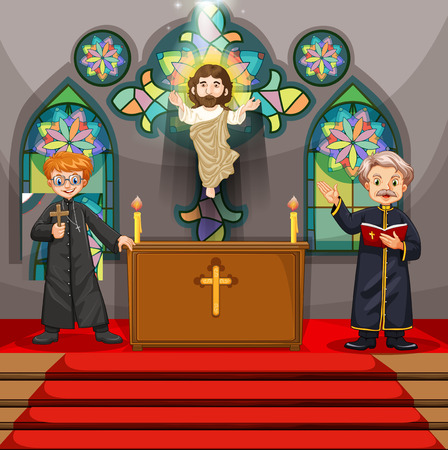 minister: Two priests in the church illustration