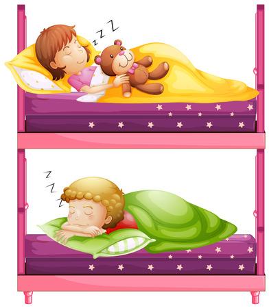 bunkbed: Kids sleeping in bunkbed at night illustration