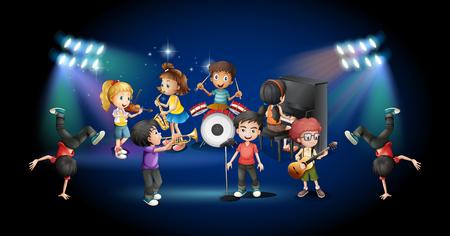 instruments de musique: Les enfants dans la bande jouant sur scène illustration Illustration