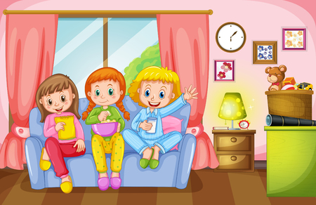 slumber: Three girls sitting on sofa at home illustration Illustration
