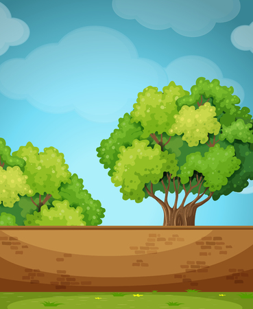 Scene with brick wall and tree illustration Illustration