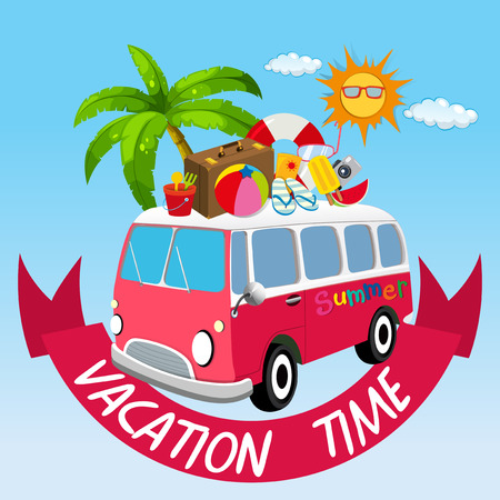 sandles: Vacation theme with van and summer objects illustration