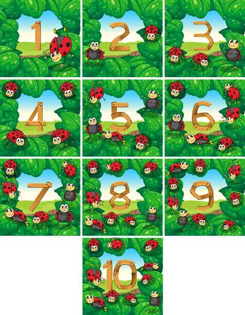 numero uno: El número uno hasta diez Con mariquitas ilustración de fondo