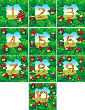 countable: Number one to ten with ladybugs background illustration