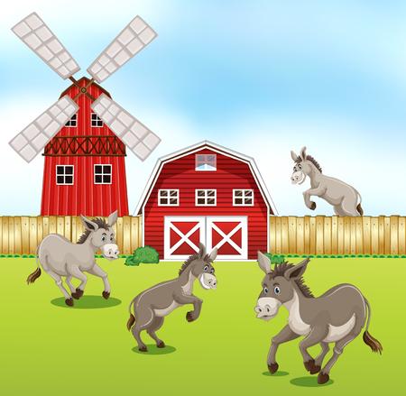 Donkeys in the farmyard illustration
