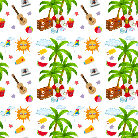 beach wrap: Seamless summer objects and coconut tree illustration