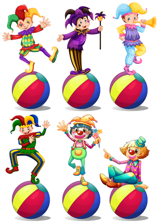 costume ball: Six characters of clowns illustration