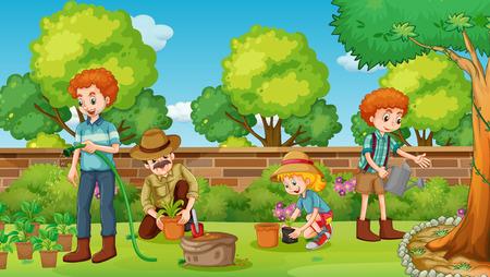 Miembros de la familia feliz en la ilustración jardín