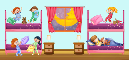 bunkbed: Children sleeping in bedroom illustration