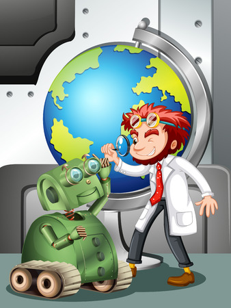 globe illustration: Mad scientist with robot and globe illustration