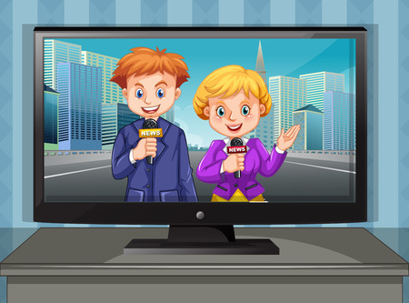 reporters: Two news reporters on television illustration