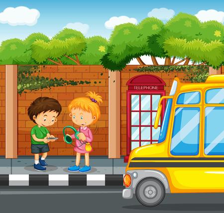 Kids hanging out on the sidewalk illustration Illustration