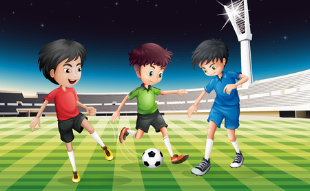 football field: Football players playing ball in the field at night illustration