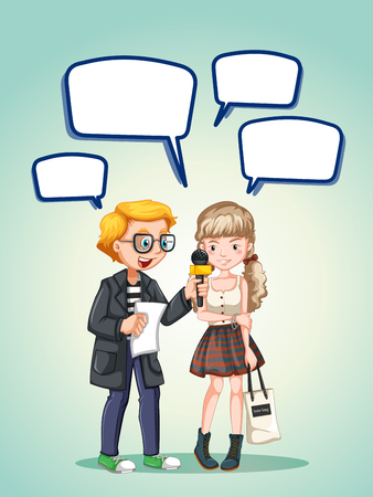 teenage girl: Report interviewing a girl teenage illustration