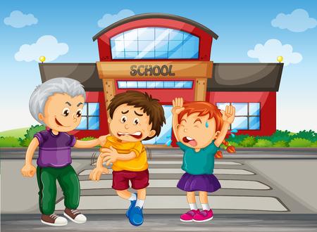 学校イラストで子供たちが拾っての少年をいじめる