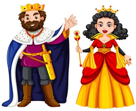 Król i królowa z happy twarzy ilustracji