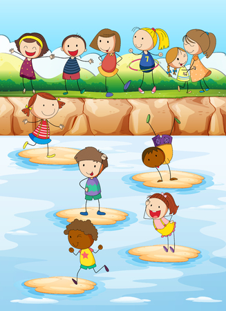 hulahoop: Children playing on the cliff illustration Illustration