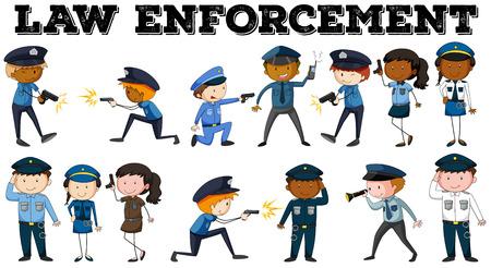 law enforcement: Policeman and law enforcement poster illustration