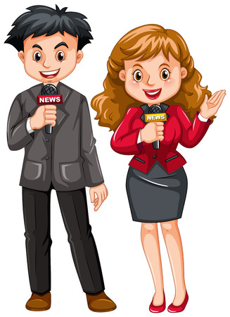 Male and female reporters illustration Illustration