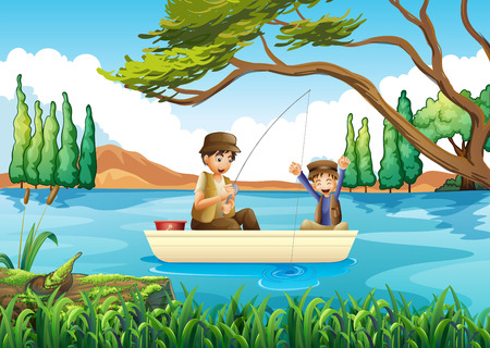 father and son: Father and son fishing in the lake illustration