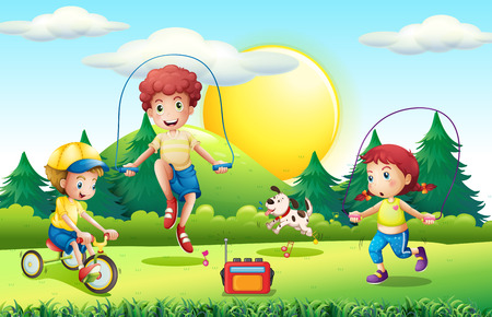 radio activity: Kids jumping rope in the park illustration