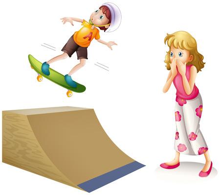 ramp: Boy skateboarding on wooden ramp illustration
