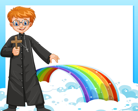missionary: Frame design with priest and rainbow illustration