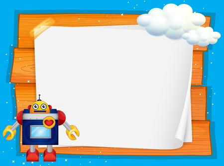 cartoon cloud: Frame design with robot and cloud illustration