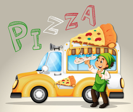 pizza dough: Chef and pizza truck illustration