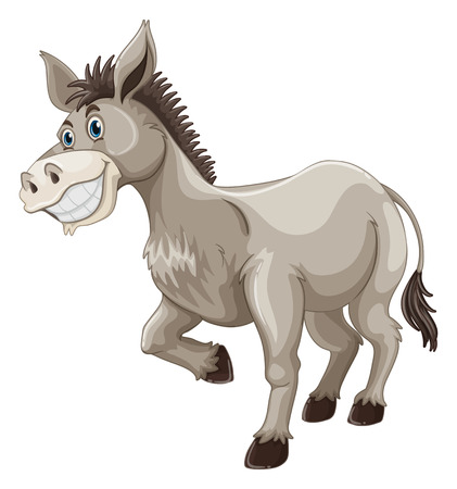 silly: Donkey with silly face illustration