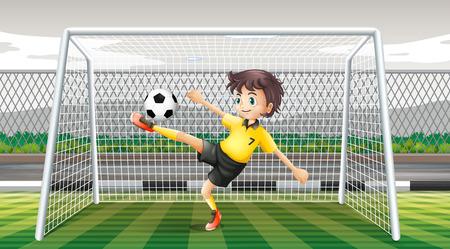 goalkeeper: Goalkeeper kicking soccer ball illustration