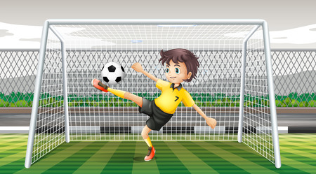 kicking: Goalkeeper kicking soccer ball illustration