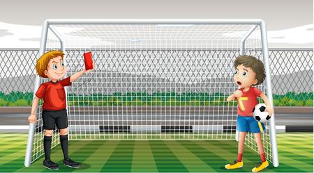 football field: Goalkeeper getting red ticket illustration