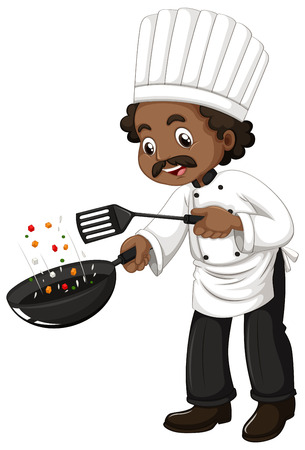 frying: Chef cooking with frying pan and spatula illustration