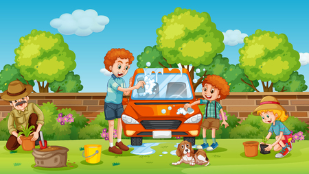 Father and son cleaning car in the yard illustration Stock Illustratie