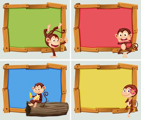 animals frame: Frame design with cute monkeys illustration