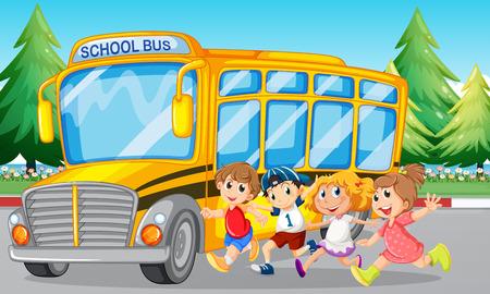 Los estudiantes y el autobús escolar en la ilustración de la carretera