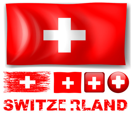 signal device: Switzerland flag in different designs illustration