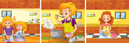 doing: Girl and mom doing activities in the kitchen illustration
