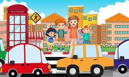 daytime: Children crossing road at daytime illustration