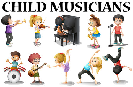 Children playing different musical instruments illustration Иллюстрация