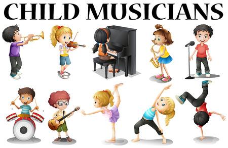 instrumentos musicales: Los niños que juegan diferentes instrumentos musicales ilustración